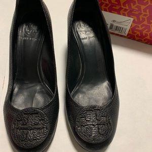 Tory Burch Sally black tumbled leather wedge heels